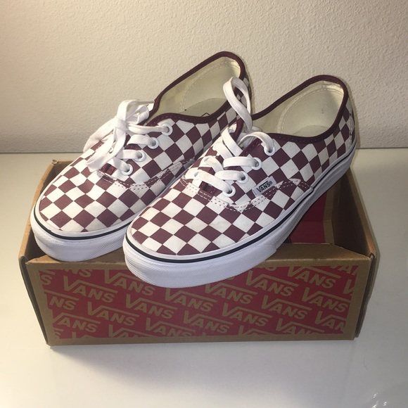 Vans Shoes | Maroon Checkered Authentic